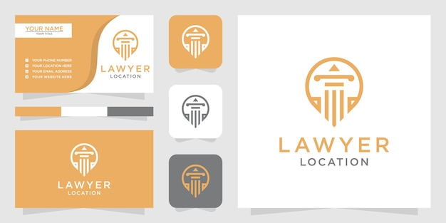 Logotipo de ubicación de abogado y tarjeta de visita.