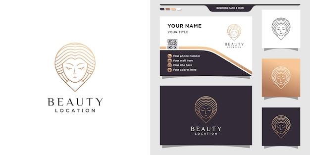 Logotipo de ubicación de belleza con rostro de mujer y pin