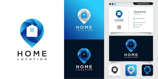 Logotipo de ubicación de casa con estilo moderno degradado vector premium