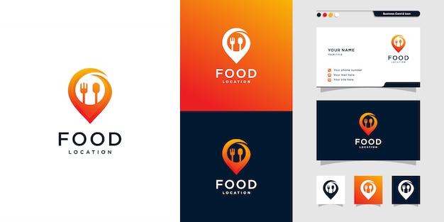 Logotipo de ubicación de comida moderna y tarjeta de visita, cena, almuerzo, lugar, mapa, pin