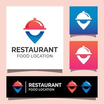 Logotipo de ubicación de comida de restaurante moderno