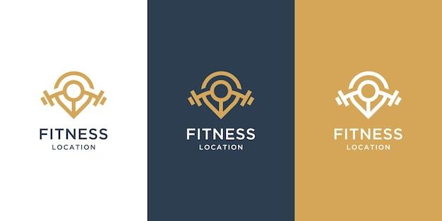 Logotipo de ubicación de fitness con persona abstracta levantando una barra