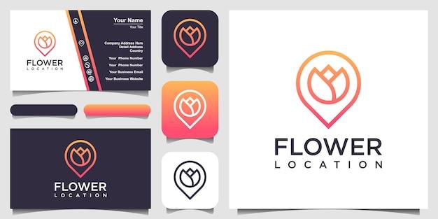 Logotipo de ubicación de flores y tarjeta de visita.