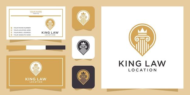 Logotipo de ubicación de law king y tarjeta de visita