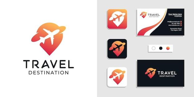 Logotipo de ubicación de lugar de destino de viaje y plantilla de tarjeta de visita