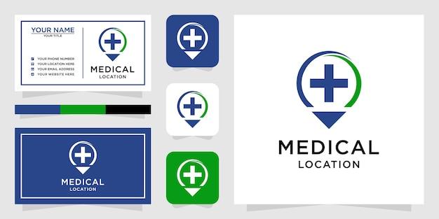 Logotipo de ubicación médica con estilo de arte lineal y tarjeta de visita