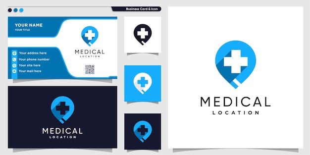 Logotipo de ubicación médica con estilo moderno y plantilla de diseño de tarjeta de visita