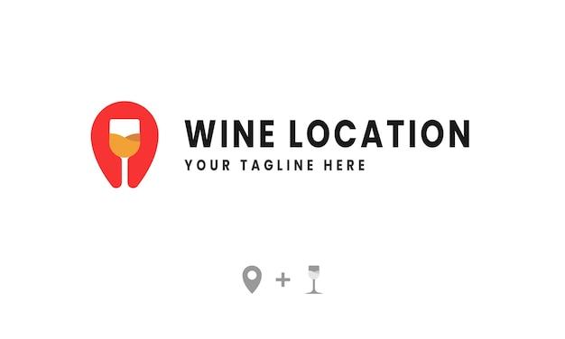 Logotipo de ubicación de vino creativo