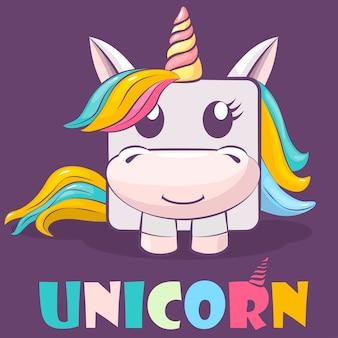 Logotipo y unicornio cuadrado de personaje de dibujos animados lindo.