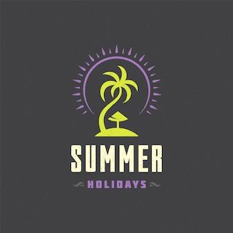 Logotipo de vacaciones de verano con diseño de lema de tipografía