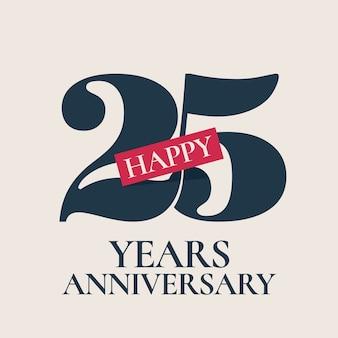 Logotipo de vector de aniversario de 25 años, icono. elemento de diseño de plantilla, símbolo con número para tarjeta de felicitación del 25 aniversario