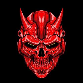 Logotipo de vector de cráneo de diablo mecha