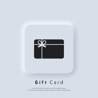 Logotipo de vector de icono de tarjeta de regalo. iconos de tarjetas de fidelidad. logotipo de regalo de incentivo. recolecte bonificaciones, gane recompensas, canjee obsequios, gane obsequios. vector. icono de interfaz de usuario. botón web de interfaz de usuario blanco neumorphic ui ux.