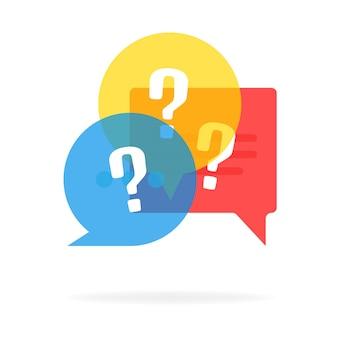 Logotipo de vector de prueba aislado en blanco, icono de cuestionario, signo de encuesta, símbolos de discurso de burbuja plana, concepto de comunicación social, chat, entrevista, votación, discusión, charla, diálogo de equipo, chat de grupo,