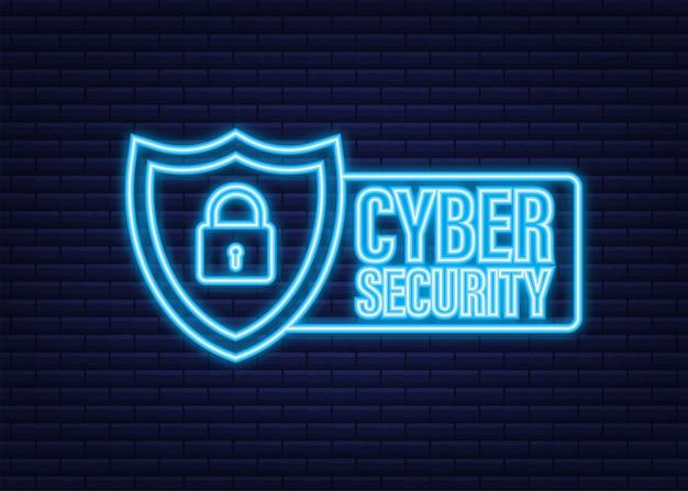 Logotipo de vector de seguridad cibernética con escudo y marca de verificación. concepto de escudo de seguridad. seguridad de internet. icono de neón. ilustración vectorial.