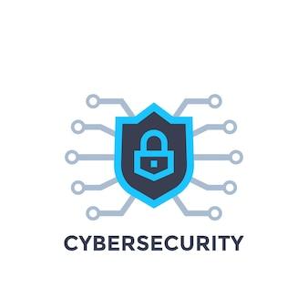 Logotipo de vector de seguridad cibernética con escudo