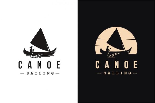 Logotipo de vela en canoa