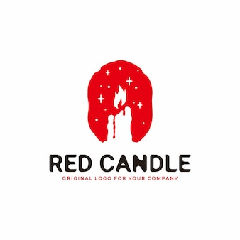 Logotipo de vela en estilo antiguo combinado con color rojo fuego