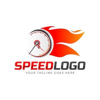 Logotipo de velocímetro con fuego