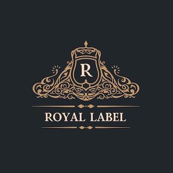 Logotipo de la vendimia florece la cresta o la etiqueta