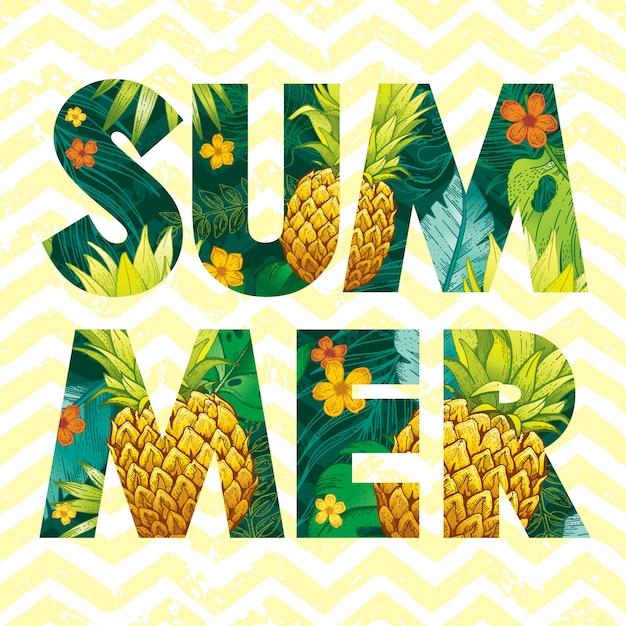 Logotipo de verano con dibujo de frutas de piña y hojas tropicales.