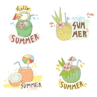 Logotipo de verano con dibujos animados de cóctel de frutas