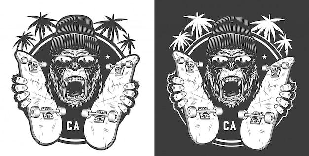 Logotipo de verano de skateboard vintage