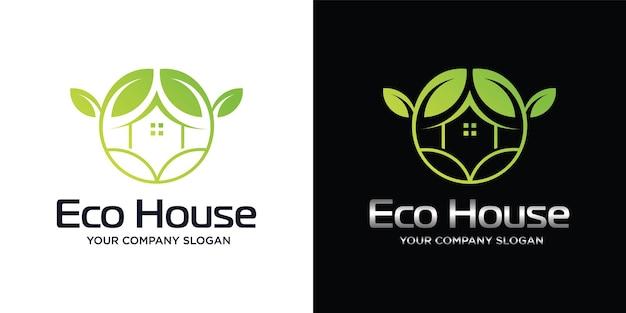 Logotipo verde de una casa ecológica o una casa ecológica minimalista.