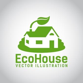 Logotipo verde de una casa ecológica o una casa ecológica rodeada de césped y con una hoja sobre el techo de construcción ecológica y de bajo impacto ambiental