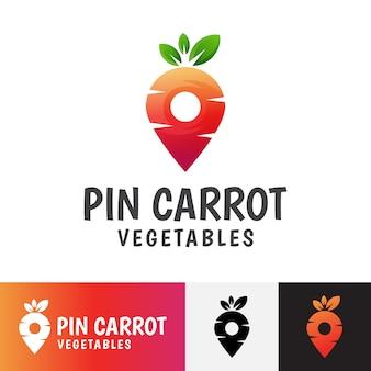 Logotipo de verduras zanahoria pin moderno.