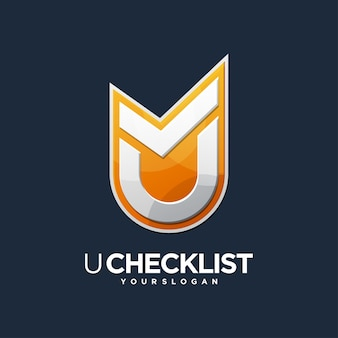 Logotipo de verificación de diseño de lista de verificación u