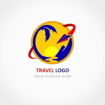 Logotipo de viaje con avión de papel