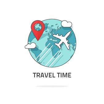 Logotipo de viajes y viajes mundiales alrededor del mundo.