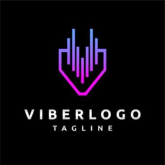Logotipo de viber con logotipo de egualizer diseño de logotipo letra v