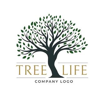 Logotipo de la vida del árbol de hojas verde oscuro