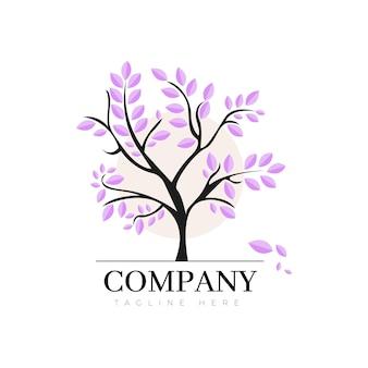 Logotipo de la vida del árbol con hojas de violeta