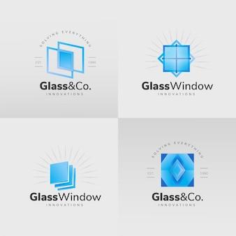 Logotipo de vidrio de diseño plano
