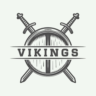 Logotipo de vikingos, etiqueta, emblema, insignia.