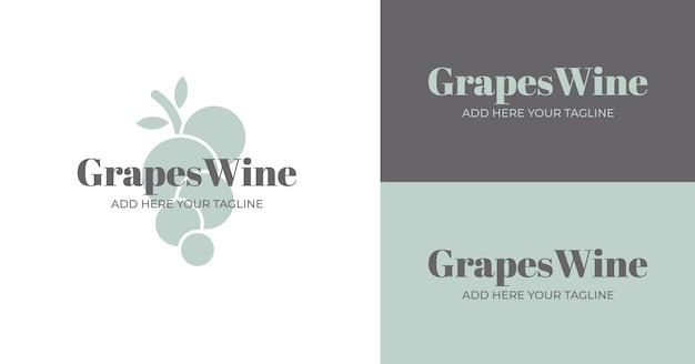 Logotipo de vino de uvas en diferentes versiones de color.
