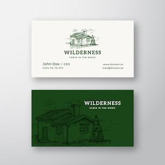 Logotipo vintage abstracto de madera salvaje
