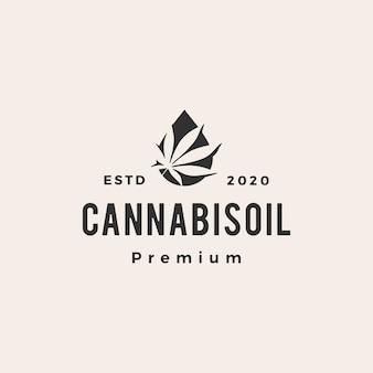 Logotipo vintage de aceite de cannabis