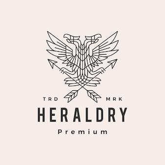 Logotipo vintage de águila bicéfala heráldica hipster