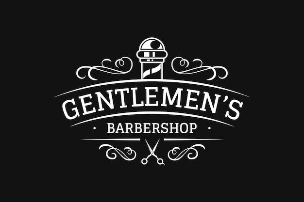 Logotipo vintage de barbería Vector Premium