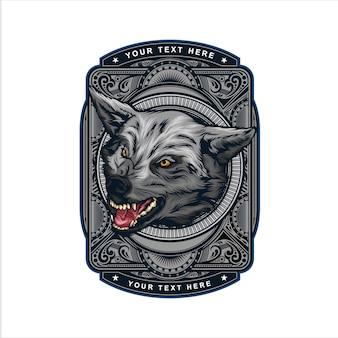 Logotipo vintage cabeza de lobo