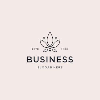 Logotipo vintage de cannabis monoline