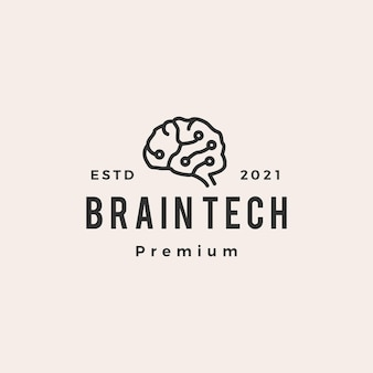 Logotipo vintage de cerebro tech hipster