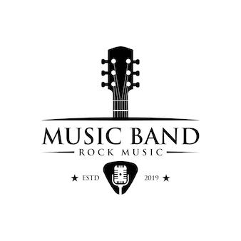 Logotipo vintage clásico de música y banda.