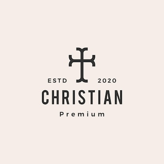 Logotipo vintage cristiano cruz iglesia hipster