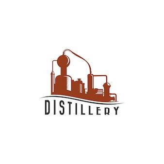 Logotipo vintage de destilación