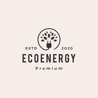 Logotipo vintage de eco energía hipster